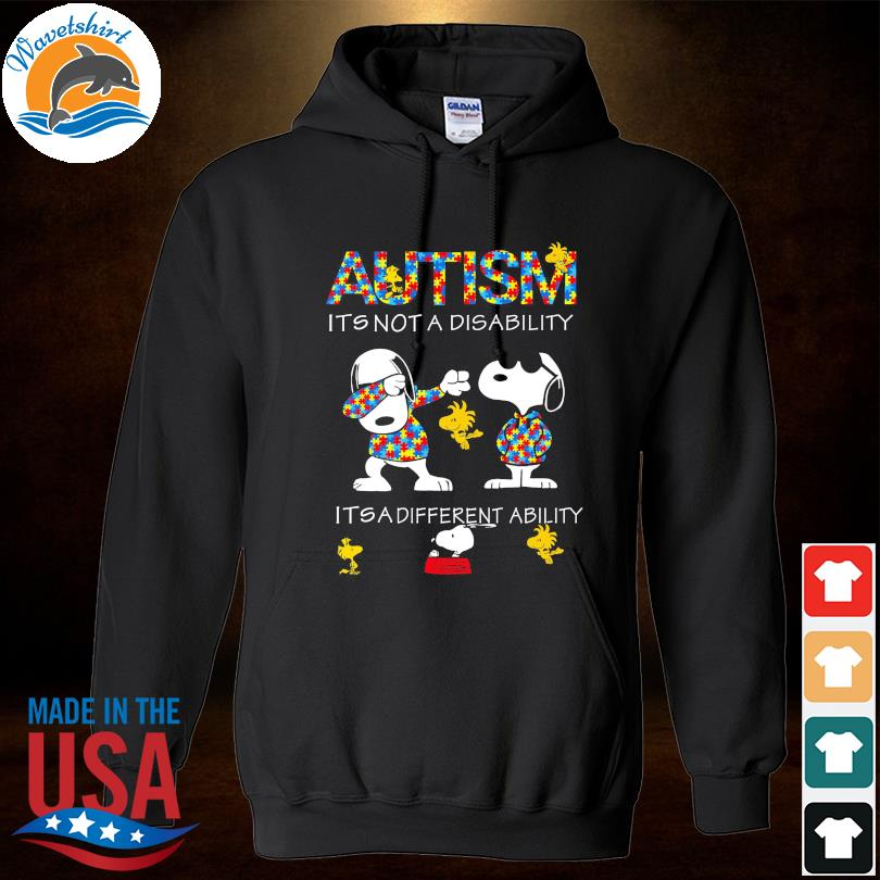 Official Dabbing Snoopy Autism it's not a disability it's a different ability s Hoodied