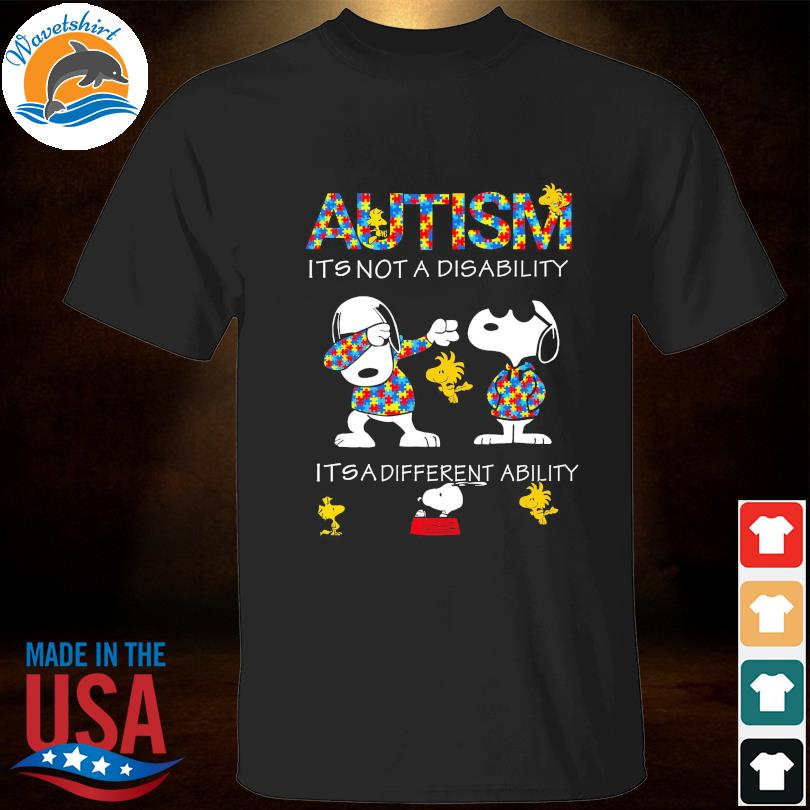Official Dabbing Snoopy Autism it's not a disability it's a different ability shirt