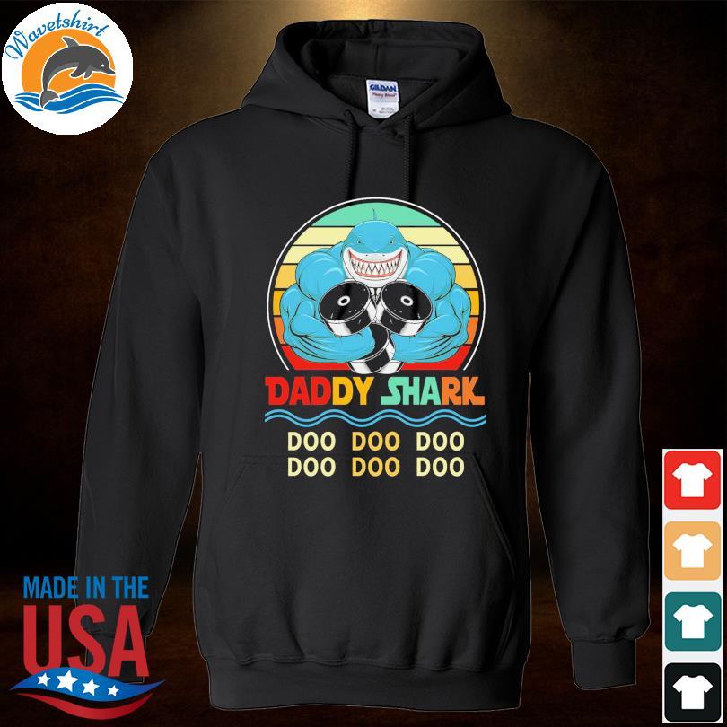 Official Daddy shark doo doo doo vintage s Hoodied