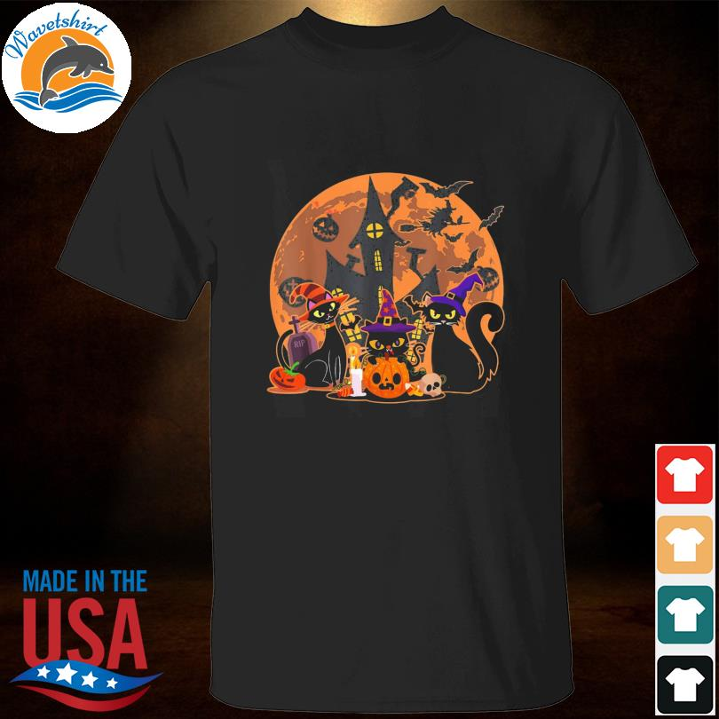 Vintage Scary Halloween Black Cat With Witch Spooky Shirt